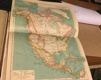 Circa 1910 North Anerica map. Great for framing! Free shipping. 11x17 paper image.