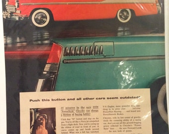1956 Chrysler Power style ad. 13x10. Great got framing for shop or msn cave.