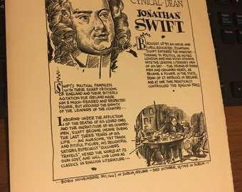 Book page print Jonathan Swift writer 7x11aporox. Great for framing for the collector.