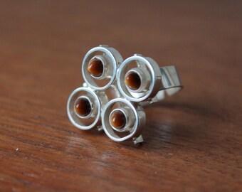 Vintage Women's Modernist Ring, Tigers Eye, Sterling, Made in Finland, Adjustable