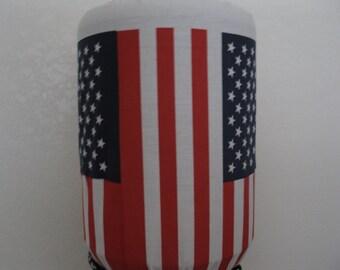 Flag  Red Blue and White- Stars- 5 Gallon Water Bottle cover- Cooler Dispenser