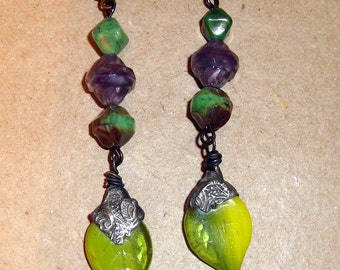 Green Tinned Leaf Earrings, Green and Purple Czech Beads, Bronze Lever Backs, Crows Cache Components, Cache Design, Sterling Silver Designs
