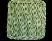 100% Cotton Hand Crocheted Dishcloth Washcloth Color: Sage