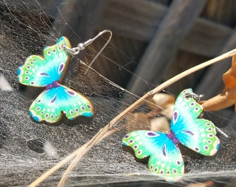 Blue and Green Butterfly Earrings