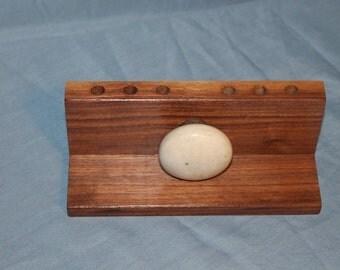 Walnut Wood Pencil Holder, Desk Organizer, Vintage Porcelain Door Knob, Handmade, D138