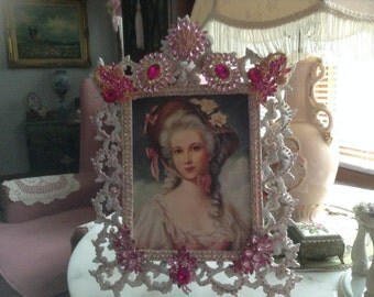 16 x 12 jeweled picture frame with image of victorian lady in pink altered holds 8 x 10 picture