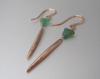 Green Tourmaline and 14k Rose Gold Spike Solid Gold Earrings