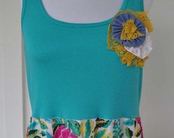Summer Clearance! Repurposed Clothing Handmade Dress Sleeveless Dress Summer Beach Dress Tank Top Dress Size Large Eco Friendly