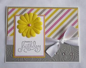 Happy Birthday handmade birthday, Grey ~ Yellow ~ Purple