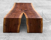 In Stock Live Edge Mitered Coffee Table - Live Edge Walnut Table-Live Edge Waterfall Table