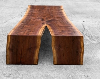 Live Edge Mitered Coffee Table - Live Edge Walnut Table-Live Edge Waterfall Table