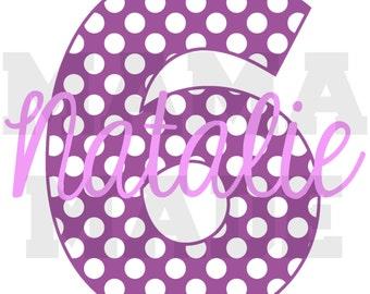 Girl's Birthday Shirt,purple number birthday shirt, purple polka dot number birthday shirt 6 mo 9 mo 12 mo 18 mo 24 mo 2t 3t 4t 5 6 8 10 12