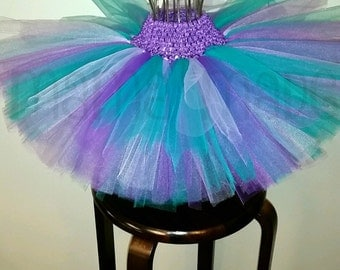 Teal,Lavender and Purple Tutu, mermaid tutu, Birthday Tutu, Flower Girl Tutu NB 3 mo 6 mo 9 mo 12 mo 18 mo 24 mo 2t 3t 4t 5 6 8 10 12 14