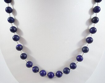 Lapis Necklace Lapis Gemstone Necklace Blue Lapis Silver Necklace Blue Bead Necklace Lapis Bead Necklace Silver Lapis Strand Lapis Lazuli