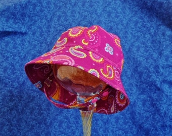 Baby Sunhat Pink with Paisley Infant Sunbonnet Summer Baby Hat