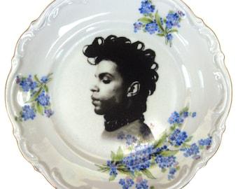 "Prince Portrait Plate - Altered Vintage Plate 6.75"""