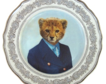 Charlie Cheetah School Portrait Plate - Altered Retro Plate 6.25""
