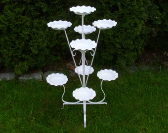 Vintage 1950's/1960's  White Wrought Iron Plant Stand