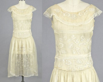 1920s Dress, 20s Embroidered Dress, Vintage 20s Dress, 1920s Tea Dress, XS