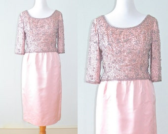 60s Cocktail Dress, 1960s Beaded Dress, Victoria Royal Beaded Pink Satin 60s Formal Party Dress, Large