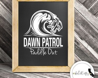 Surfer Vinyl Decal, Surfing Decal, Dawn Patrol, Ocean Wave, Paddle Out, Beach, Laptop Decal, Tablet Decals, Car Window Decal