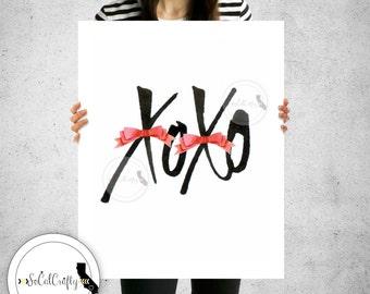 XOXO Wall Print, Watercolor Print, Modern Wall Art, Inspirational Print, Pink Black White, Quote, Digital Print, 8x10 Instant Download
