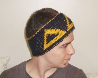 Hand Knit Headband, Womens Headband, Mens Headband, Delta Delta Delta, Tri-Delta, Blue and Yellow, Best Friend Gift, Winter Accessories