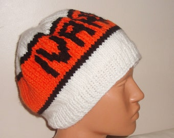 Man Beanie, Man Beret, Man Hat, Winter Hat, Personalized Men Hat, Beanie Hat, Ivanhoe, Personalized Hat, White, Orange & Black Bearet