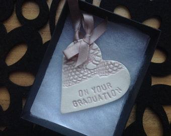 pink heart graduation congratulations gift card ceramic pottery heart