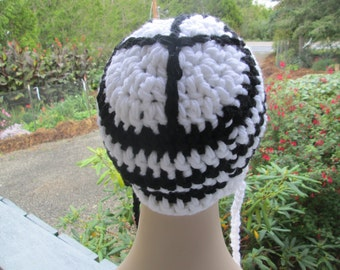 Peace Sign Black and White Earflap Hat by SuzannesStitches, Funky Hat, Teen Hat, Trapper Hat, Aviator Hat, Earflap Hat, Chunky Winter Hat
