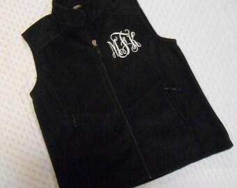 Monogrammed Black  Fleece Vest...
