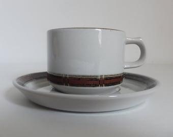 Vintage 1970's Danish Modern Desiree Denmark Stoneware Teacup / Coffee Cup & Saucer - Handmalet S K