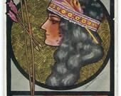 Bow String Man Woman Indian Longfellow poem artist signed Cobb Shinn 1913 postcard