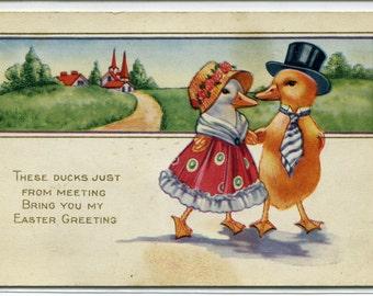 Dressed Ducks Easter Holiday Greetings 1910c postcard