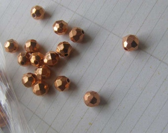 Cooper Coated Beads, Vintage Copper Beads, Vintage Faceted Beads, Destash Lot Beads