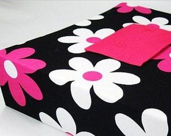 Girl Photo Album 4x6 5x7 8x10 Personalized Baby Album Hot Pink Black flower Scrapbook Picture Book