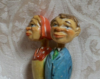 Vtg Bottle Stopper - Cork, Couple w/ Moveable Heads, as is