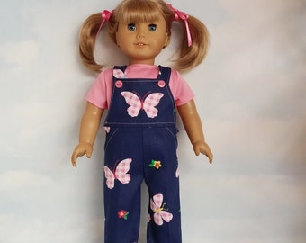18 inch doll clothes - Pink Butterfly Bibs and TShirt handmade to fit American Girl Doll - FREE SHIPPING