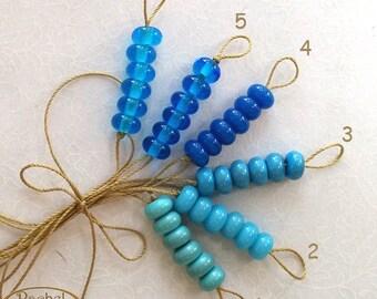 Lampwork Glass Donuts Beads, Turquiose Glass Spacers Beads - Rachelcartglass