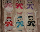New Item - SNOWMAN Baby Snap Clip Hair Bow - You Choose ONE Color