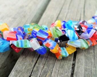 Millefiori Multi-Color Chip Beads Full Strand 3-8mm