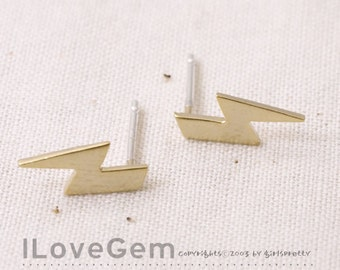 NP-1753 Matt Gold Plated, mini thunderbolt, Earrings, 925 sterling silver post, 2pcs