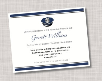 Custom Police Academy Graduation Announcements Invitations