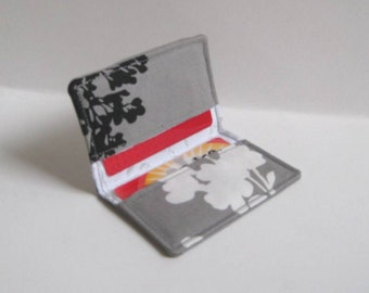 Business Card Holder. Credit Card Holder. Transit Card Holder. Bus Pass Holder. ID Card Holder - Gray with Black and White Leaf, Blossoms