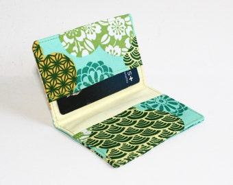 Business Card Holder. Credit Card Holder. Transit Card Holder. Bus Pass Holder - Green Asian Blossoms