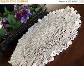 Large White Doily or Centerpiece,  Raised Pink Roses Hand Crocheted, Ruffled Border 13370