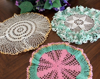 3 Vintage Crocheted Doilies in Shades of White with Ruffled Colorful Accents 13332