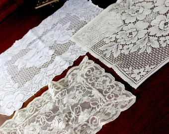 Vintage Lot Heritage Lace Doily, Machine Cut Cream Synthetic Lace Doilies 12897