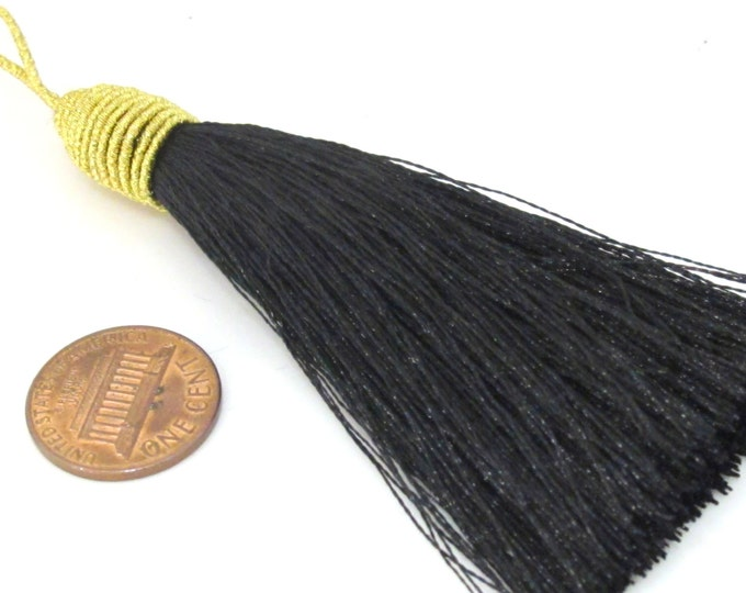 1 Piece  - Long black color silky tassel charm with golden cord twine - tassle fringe craft supply - TS005