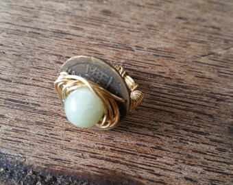 Genuine Jade Bead ring with Chinese coin, gold wire, size 6
